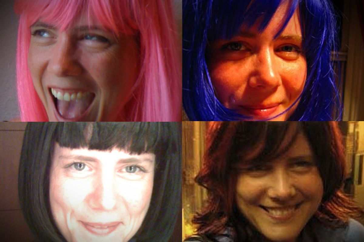 Photos of the author in four different wigs.