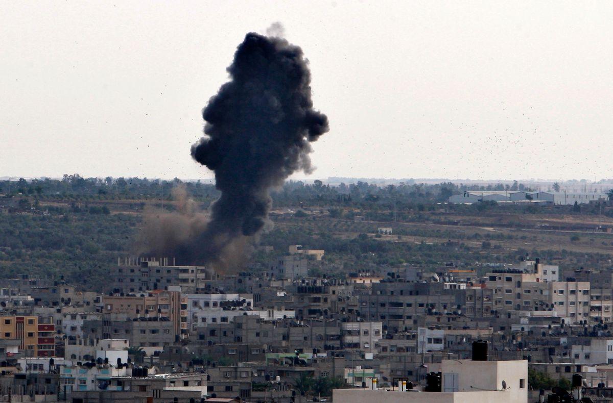 Smoke rises following an Israeli attack in Gaza City.          (AP/Adel Hana)