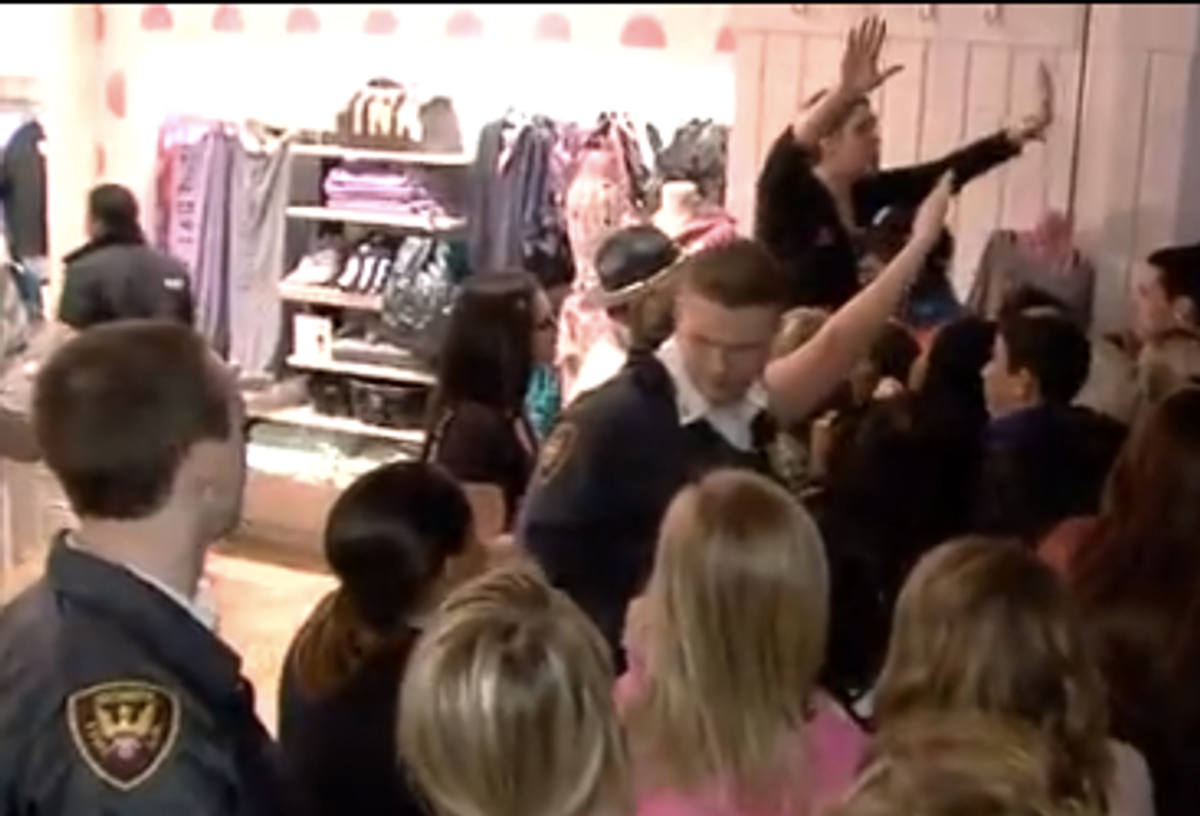 Screenshot from NBC 41: Victoria's Secret store clerk pleads with frenzied shoppers