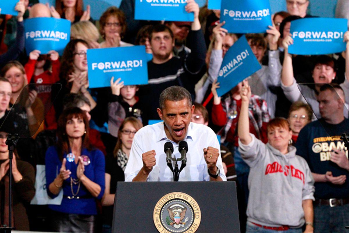 U.S. President Barack Obama participates in a campaign rally in Lima, Ohio, November 2, 2012.       (Reuters/Jason Reed)