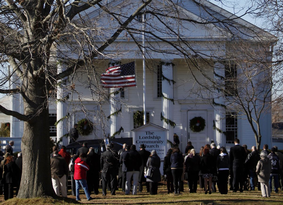 Mourners listen to the funeral service of Victoria Soto over loudspeakers in an overflow area outside Lordship Community Church.      (AP/Jason DeCrow)