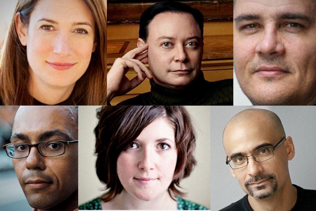 Clockwise from top left: Gillian Flynn, Andrew Solomon, Adam Johnson, Junot Diaz, Claire Vaye Watkins, Victor LaValle