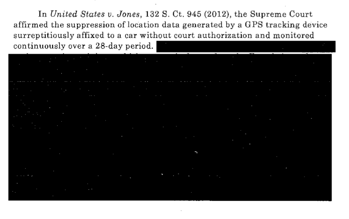 The only unredacted text in one of two memos provided to the ACLU