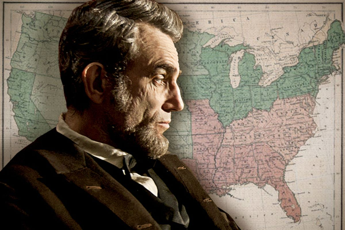 """""""LINCOLN""""..L-001131R..Daniel Day Lewis stars as President Abraham Lincoln in this scene from director Steven Spielberg's """"Lincoln"""" from DreamWorks Pictures and Twentieth Century Fox...Ph: David James, SMPSP..©DreamWorks II Distribution Co., LLC. †All Rights Reserved.         (David James, Smpsp)"""
