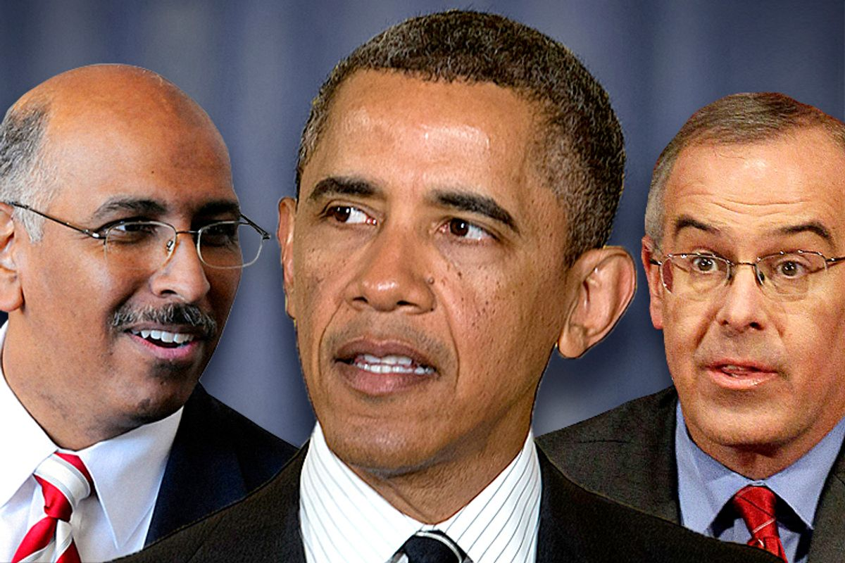 Michael Steele, Barack Obama, David Brooks       (Reuters/Jonathan Ernst/AP/Carolyn Kaster/Nam Y. Huh)
