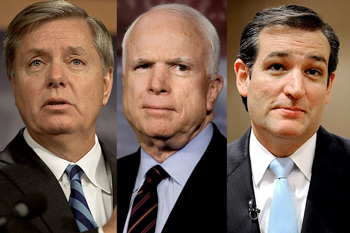 Lindsey Graham, John McCain and Ted Cruz    (Jeff Malet, maletphoto.com/AP/Jacquelyn Martin/Pat Sullivan)