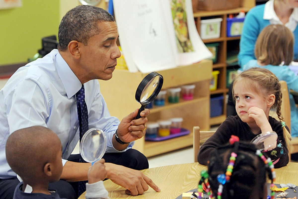 President Barack Obama during a visit to College Heights Early Childhood Learning Center in Decatur, Ga. on Thursday, Feb. 14, 2013.   (AP/Johnny Crawford)
