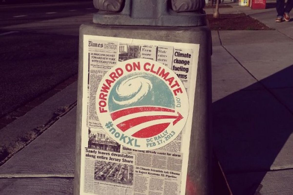 Environmental group 350.org adorned DC streets with anti-Keystone XL posters ahead of the inauguration (via 350.org Facebook page)