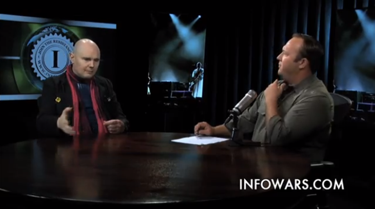 Billy Corgan appears on air with Alex Jones on March 23, 2013