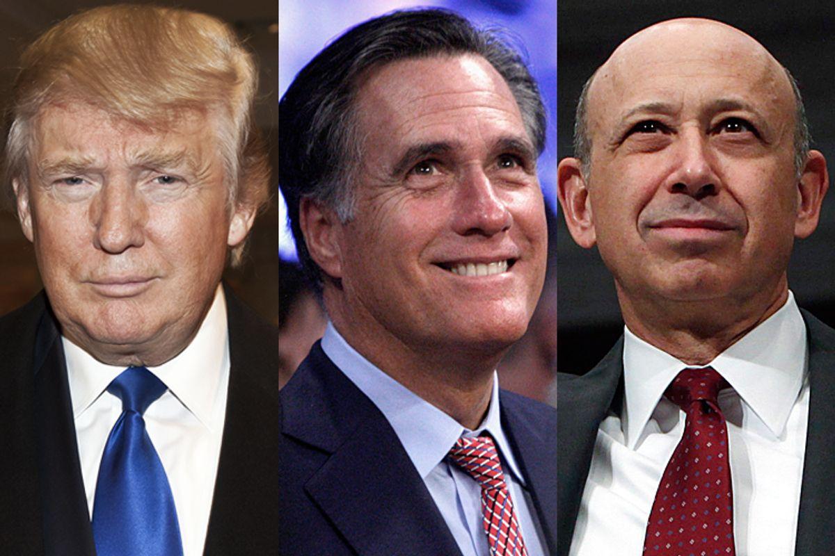 Donald Trump, Mitt Romney, Lloyd Blankfein                                          (<a href='http://www.shutterstock.com/gallery-64736p1.html'>lev radin</a> via <a href='http://www.shutterstock.com/'>Shutterstock</a>/Reuters/Steve Marcus/Jim Young/Salon)