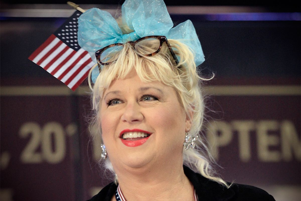 Actress Victoria Jackson takes part in a rally before a Republican presidential debate Monday, Sept. 12, 2011, in Tampa, Fla.      (AP/Chris O'meara)