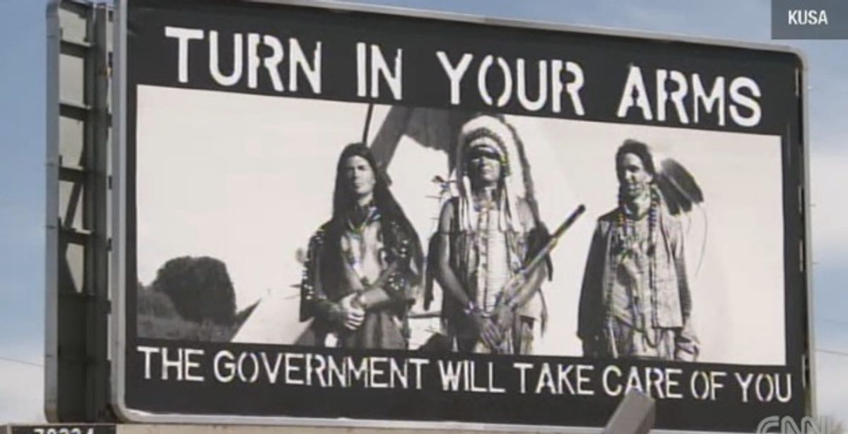 An iconic piece of propaganda tells Native Americans government will care for them.