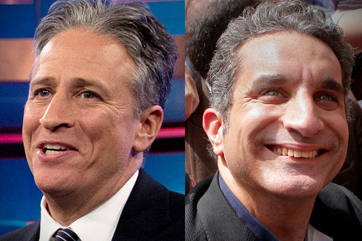 Jon Stewart, Bassem Youssef      (AP/Carolyn Kaster/Amr Nabil)