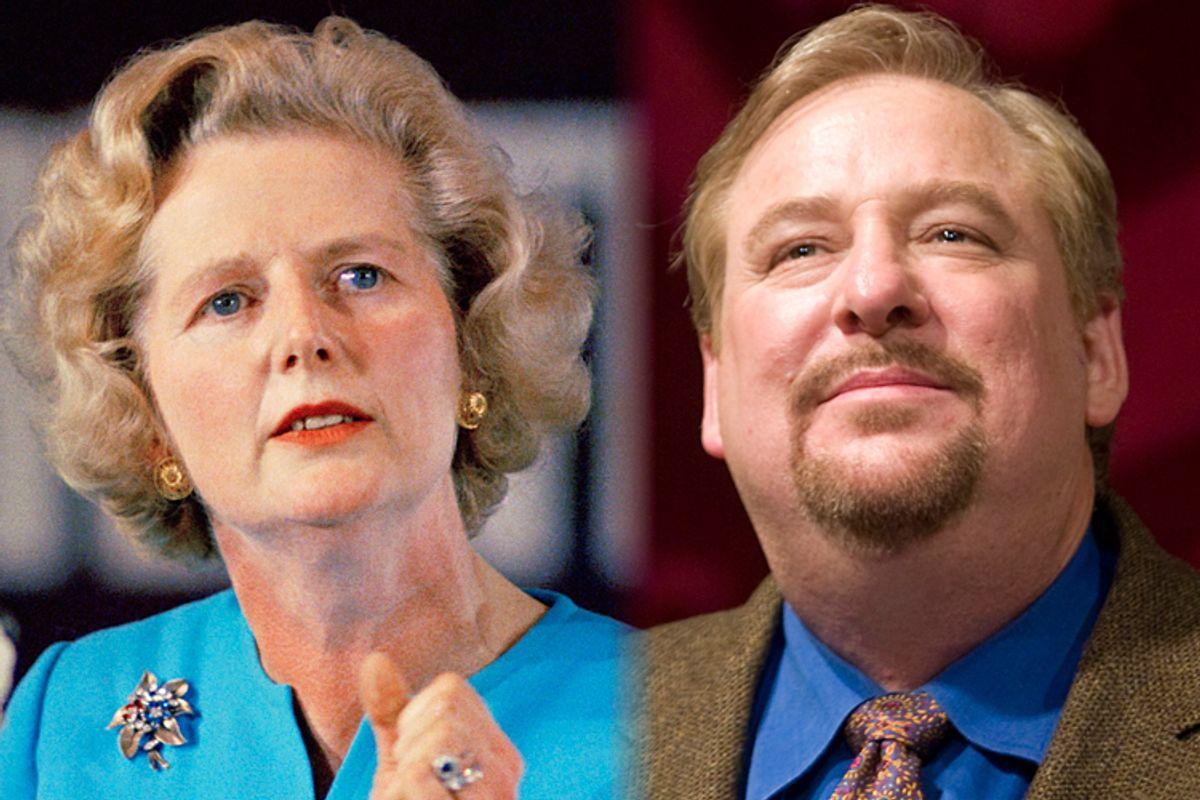 Margaret Thatcher, Rick Warren           (AP/Hector Mata)