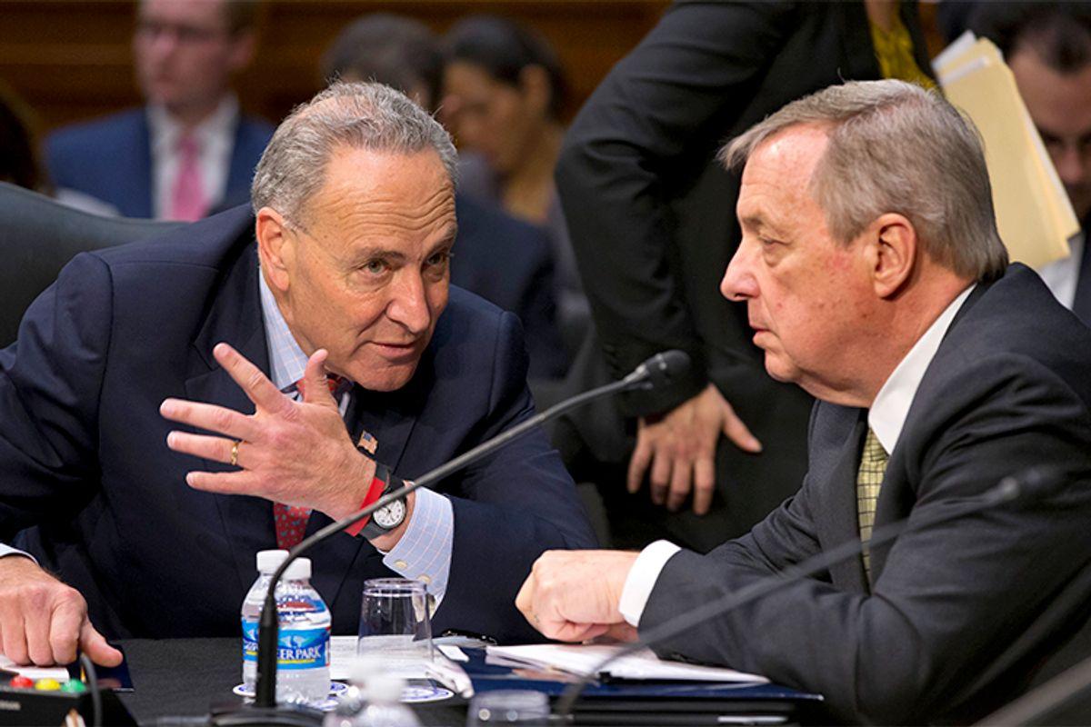 Sen. Chuck Schumer, D-N.Y., Sen. Richard Durbin, D-Ill. confer on Capitol Hill in Washington, Monday, May 20, 2013.       (AP/J. Scott Applewhite)