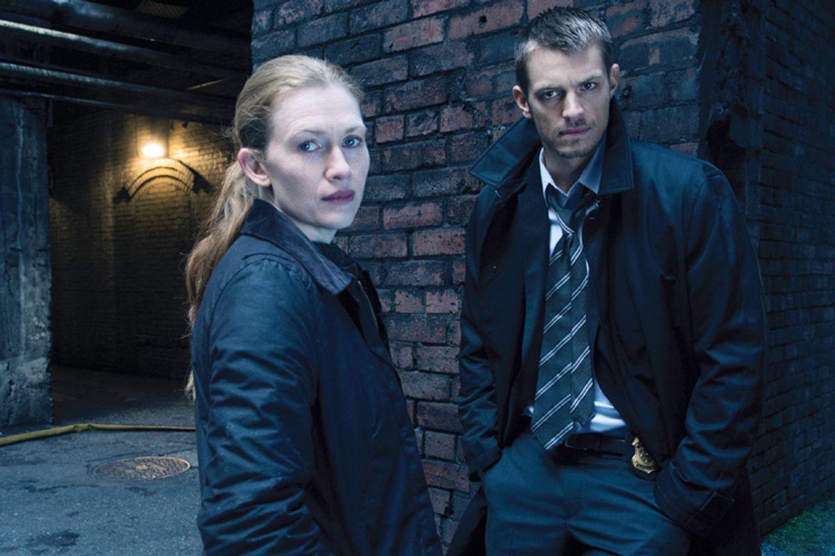 Sarah Linden (Mireille Enos) and Stephen Holder (Joel Kinnaman) - The Killing _ Season 3 _ Gallery - Photo Credit: Frank Ockenfels 3/AMC    (Frank Ockenfels 3/amc)