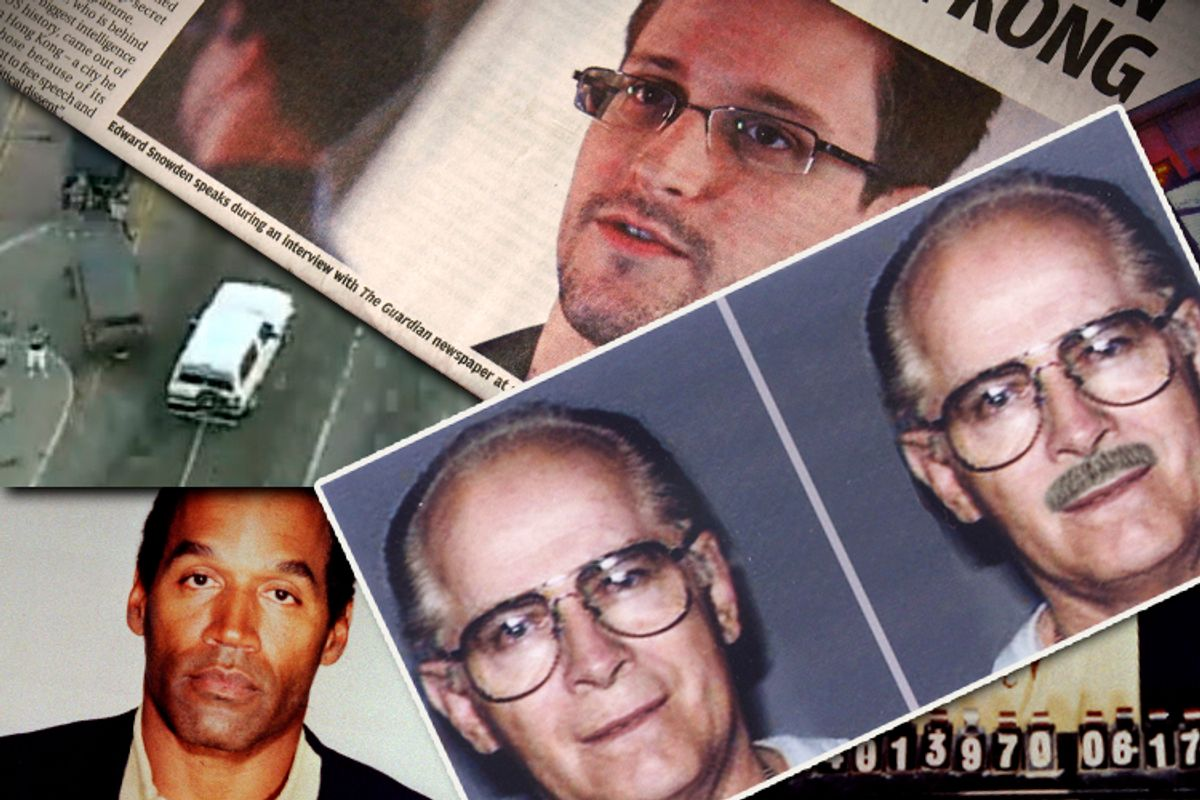 A composite of images featuring OJ Simpson, Whitey Bulger and Edward Snowden                         (AP/Salon)