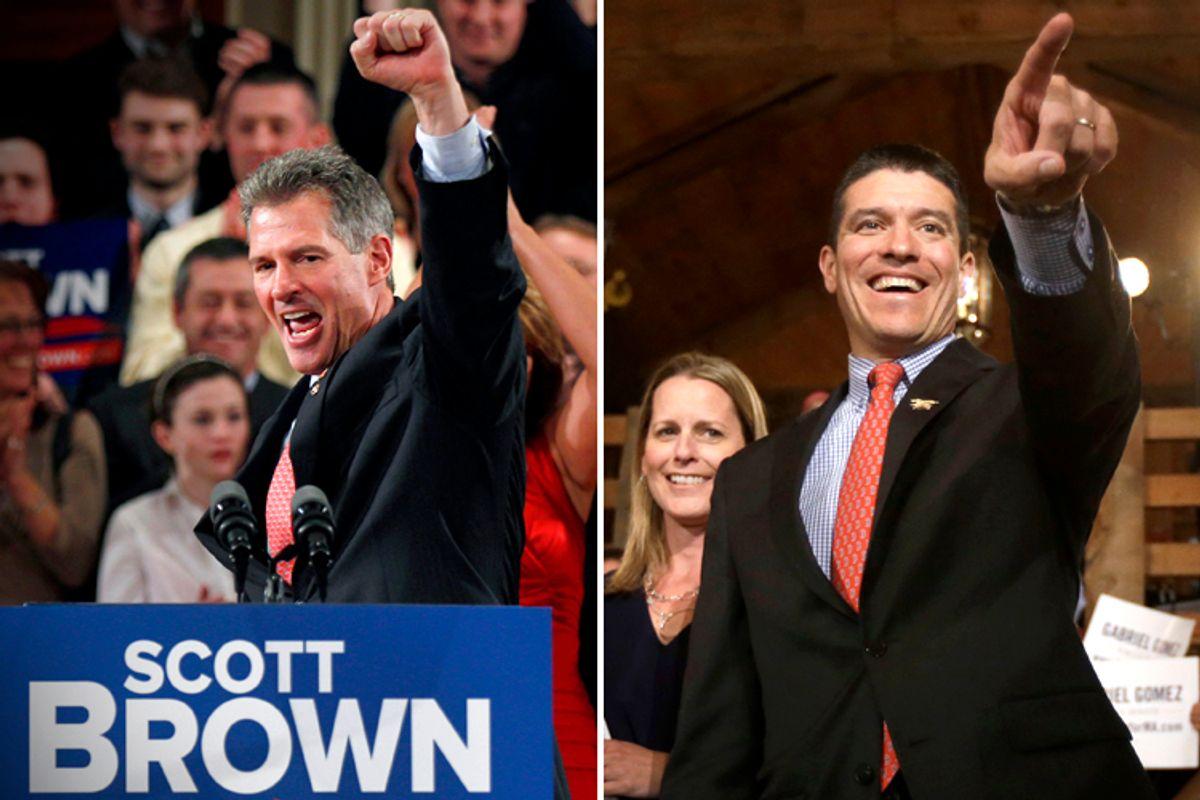 Scott Brown, Gabriel Gomez   (AP/Charles Krupa/Steven Senne)