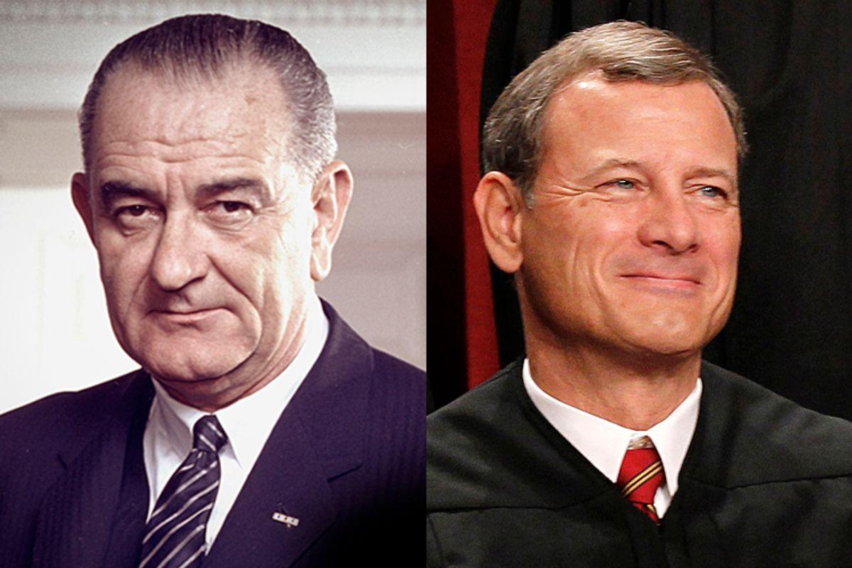 President Lyndon B. Johnson, Chief Justice John Roberts         (AP/Pablo Martinez Monsivais)