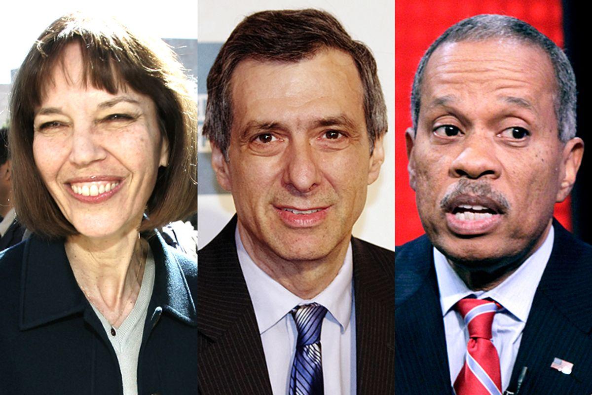 Judith Miller, Howard Kurtz, Juan Williams        (AP/Charles Dharapak/Wikimedia/David Shankbone/Richard Drew)