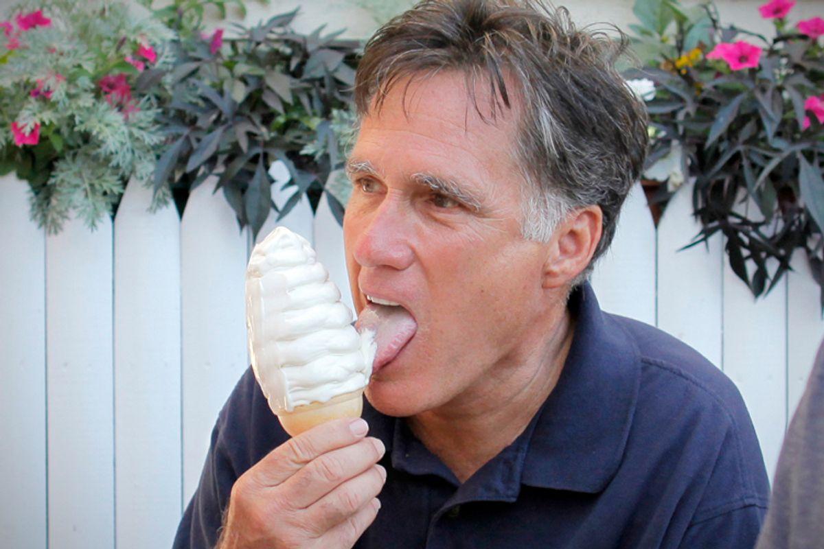 Mitt Romney, at Bailey's Bubble ice cream in Wolfeboro, N.H.         (AP/Charles Dharapak)