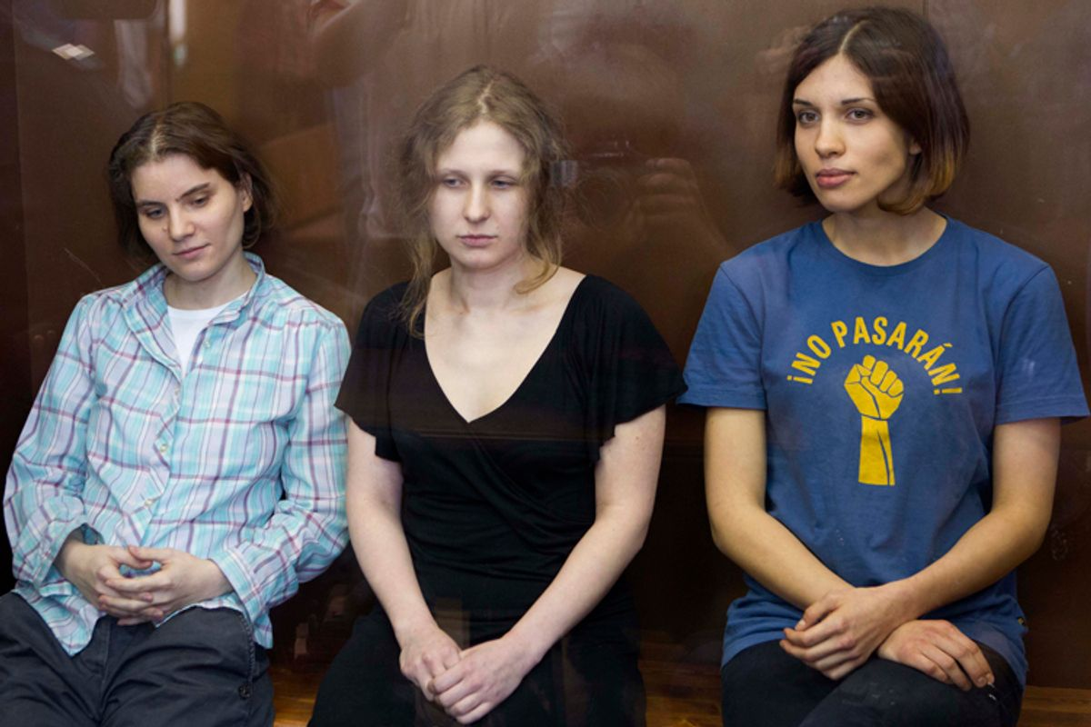 Nadezhda Tolokonnikova, Maria Alekhina and Yekaterina Samutsevich of Pussy Riot             (AP/Misha Japaridze)