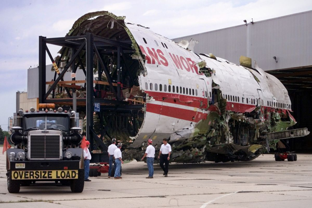 The reconstructed section of TWA flight 800.      (Reuters)