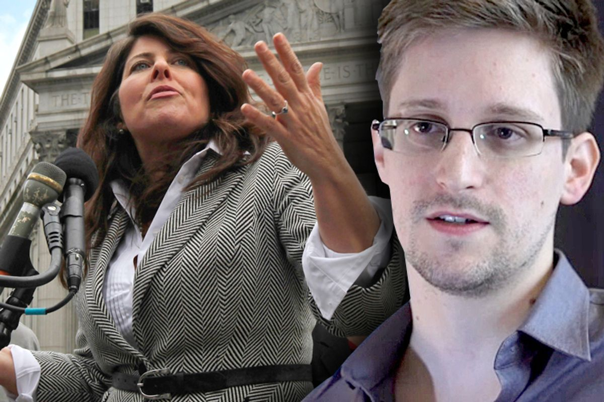 Naomi Wolf, Edward Snowden                      (Reuters/Mike Segar)