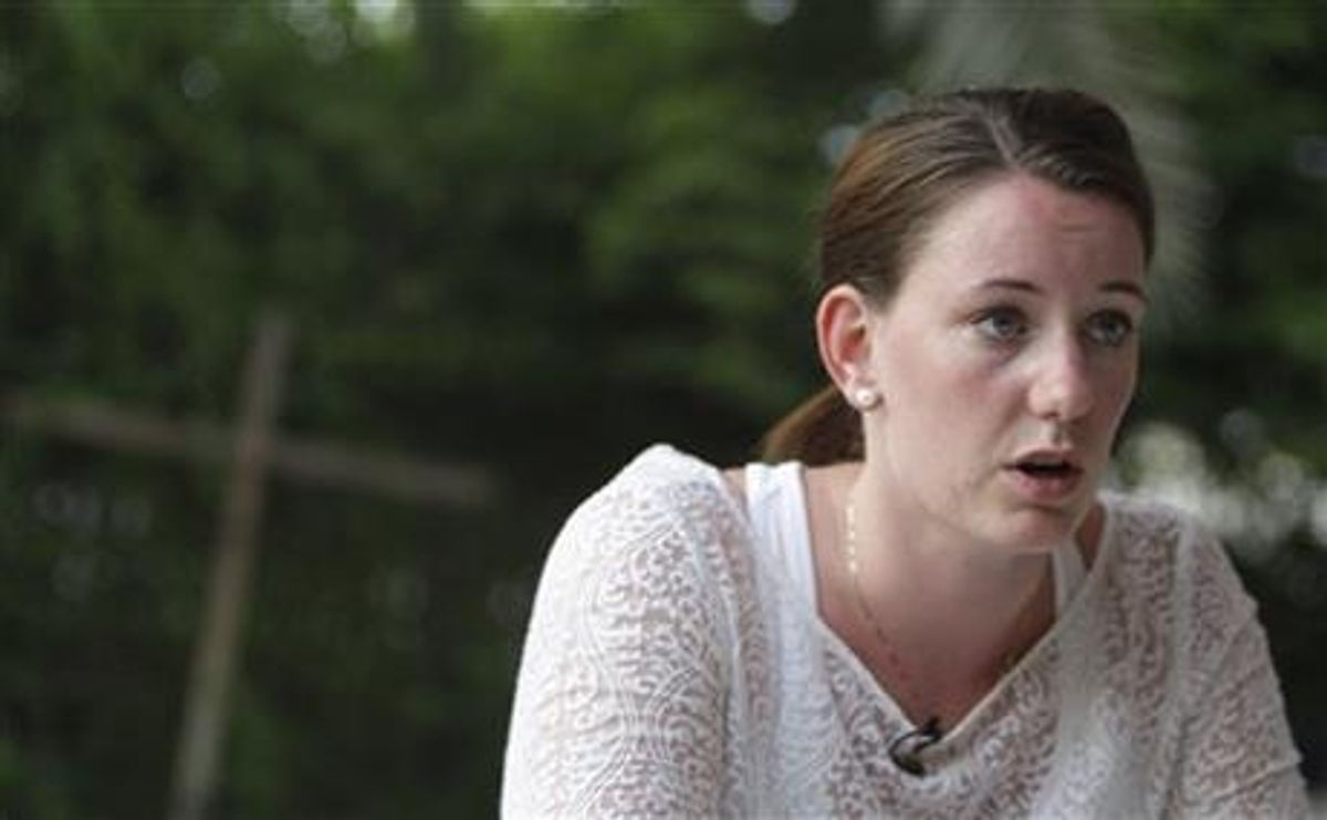 Marte Deborah Dalelv talks to an Associated Press reporter in Dubai after she was sentenced 16 months in jail for having sex outside of marriage after she reported an alleged rape.    (AP/Kamran Jebreili)