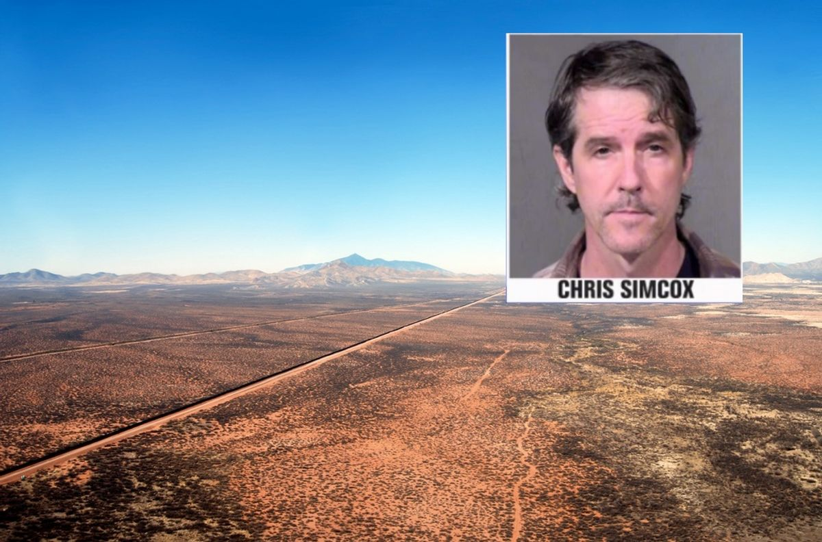 Aerial of the U.S. Mexico border fence in the Arizona desert. Foreground: mugshot of Chris Simcox.      (Frontpage/Shutterstock and Phoenix Police)
