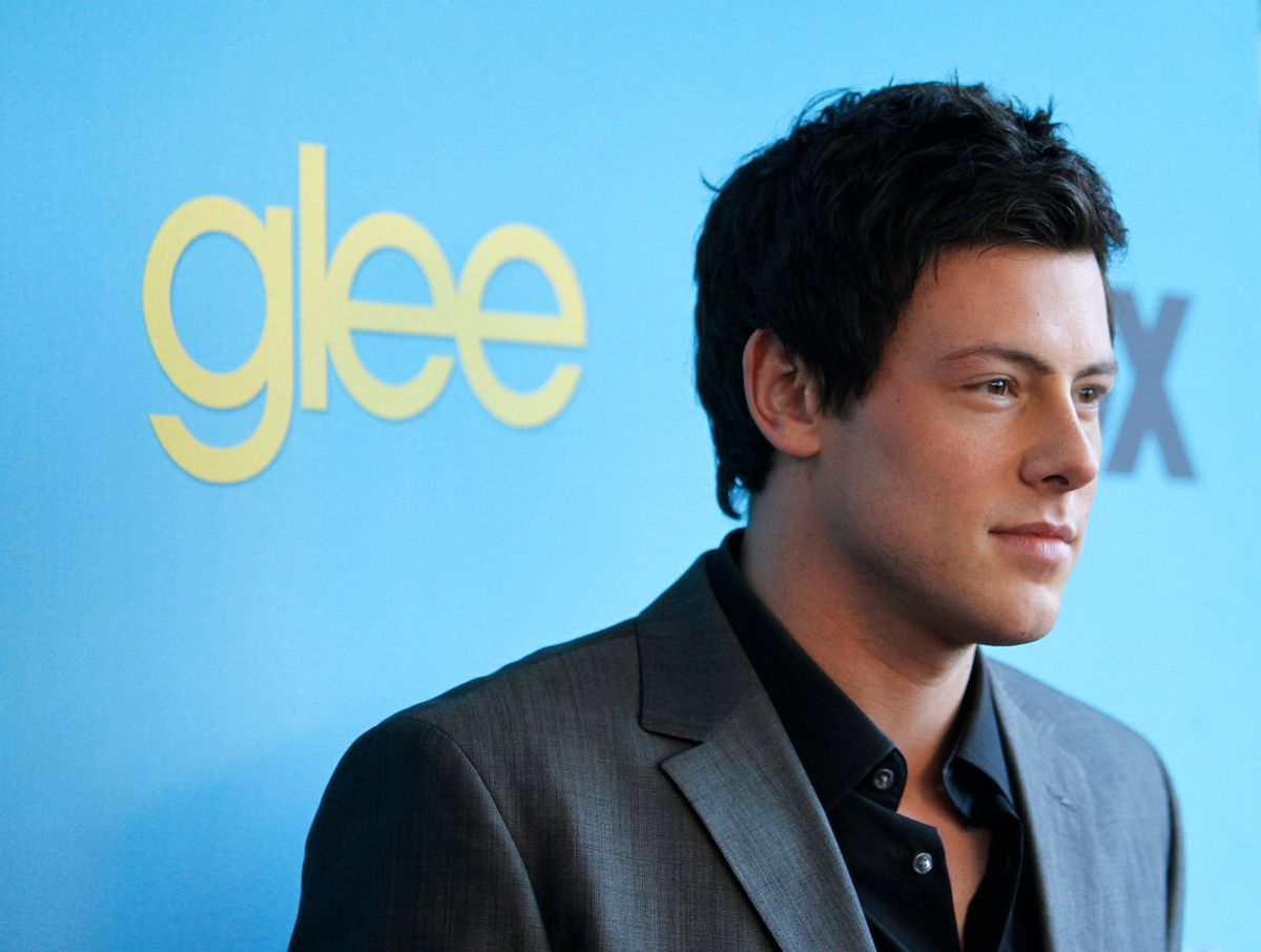 """Cast member Cory Monteith poses at a 2010 party to celebrate the premiere of the second season of the television series """"Glee"""" in Los Angeles.     (Reuters/Mario Anzuoni)"""