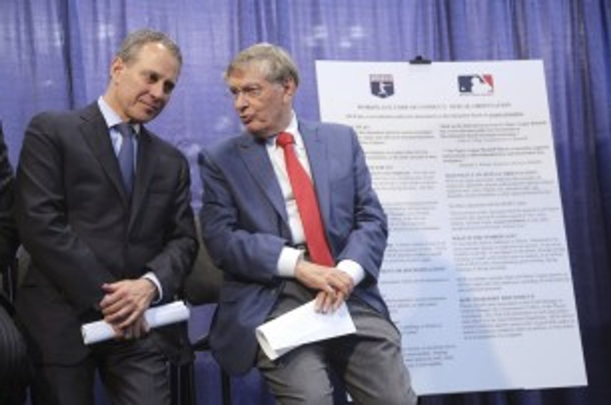 AG Eric Schneiderman, left, with MLB Commissioner Bud Selig on Tuesday     (Mary Altaffer/Associated Press)