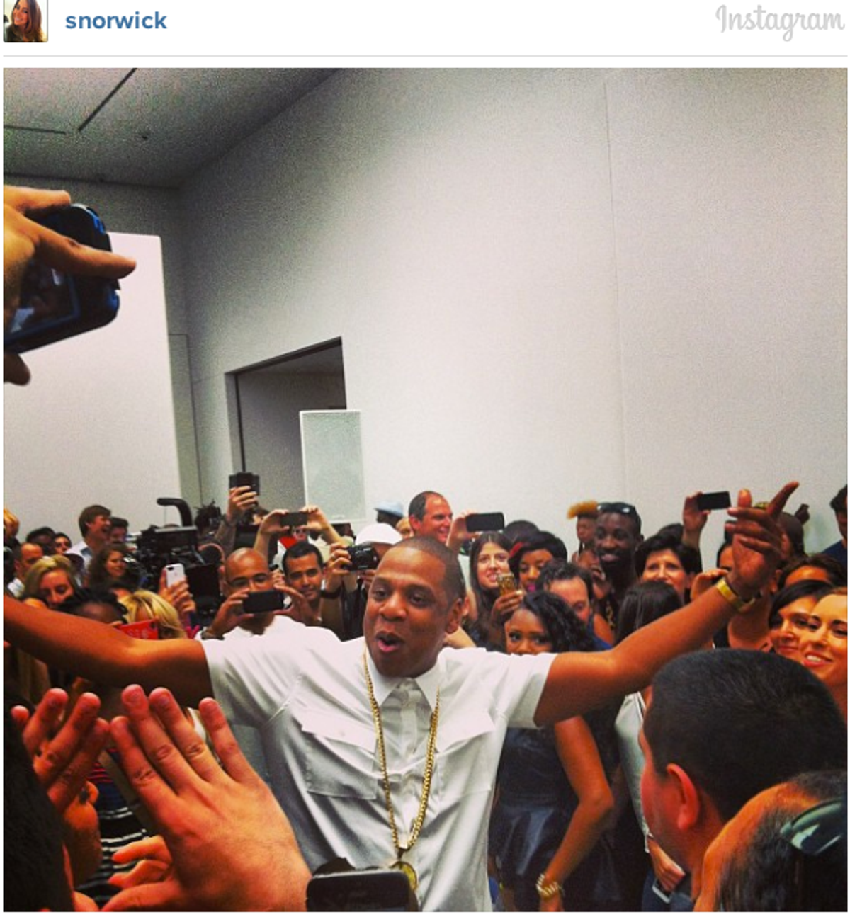 """Jay-Z films video for """"Picasso Baby"""" at Pace Gallery in NYC  (Instagram)"""