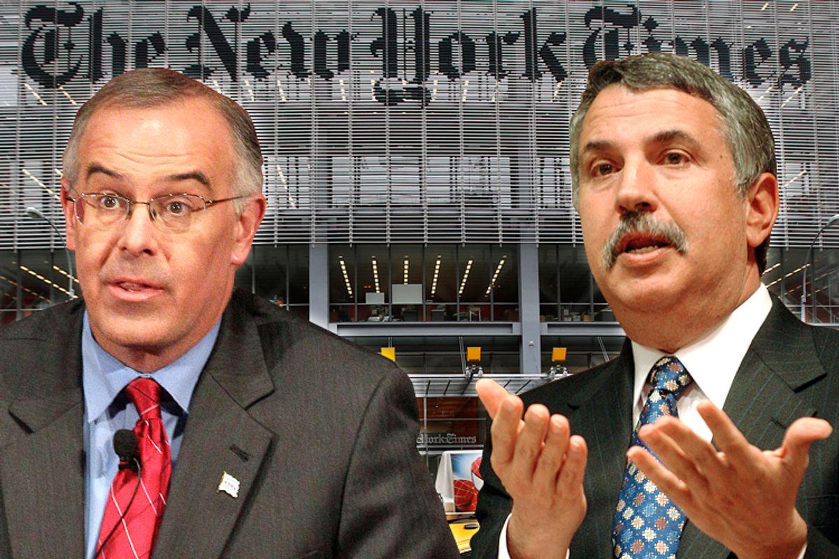 David Brooks, Thomas Friedman        (AP/Nam Y. Huh/Zsolt Szigetvary/Reuters/Carlo Allegri)