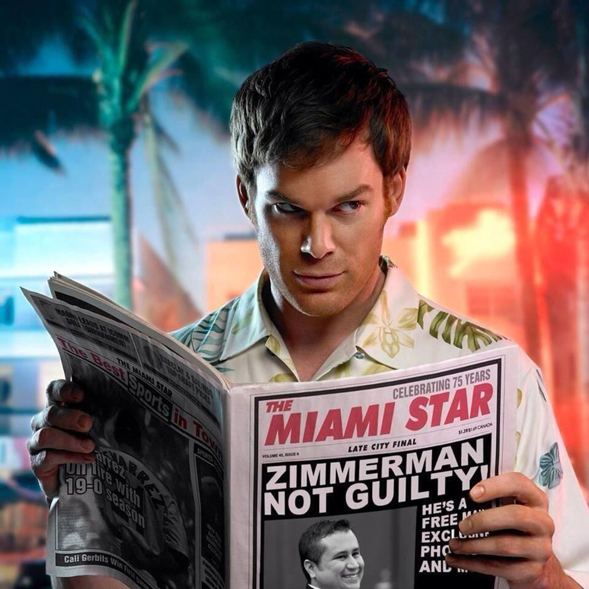 A photoshopped image of Dexter reading about Zimmerman's acquittal            (dexterpodcast/Flickr)