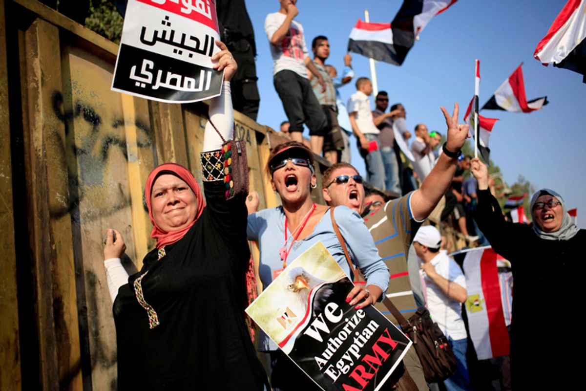 Opponents of Egypt's President Mohammed Morsi protest in Cairo, July 3, 2013.    (AP/Khalil Hamra)