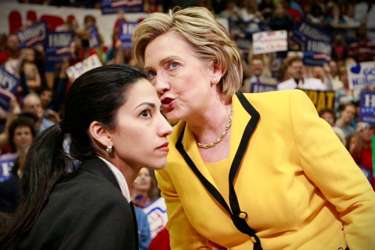 Hillary Clinton with aide Huma Abedin at a campaign rally, March 19, 2008.      (AP/Charles Dharapak)