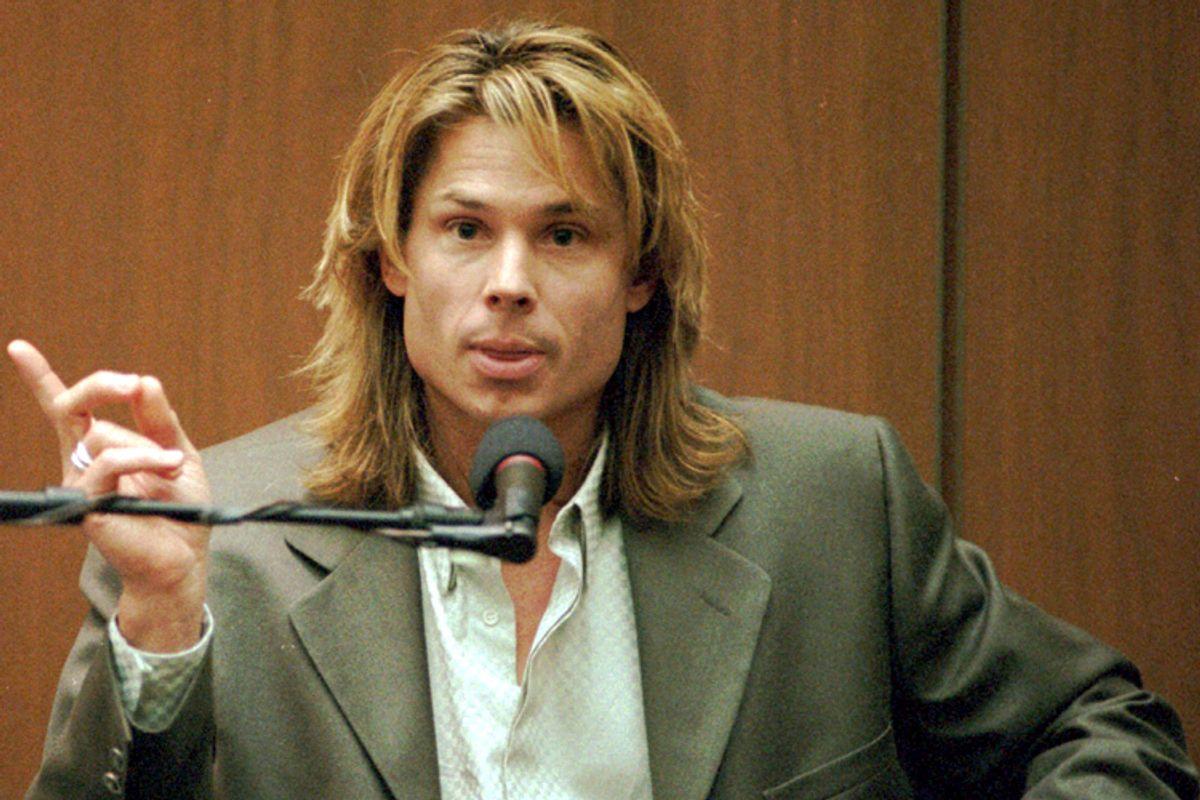"Witness Brian ""Kato"" Kaelin testifies during the O.J. Simpson trial, March 21, 1995.    (AP/John McCoy)"