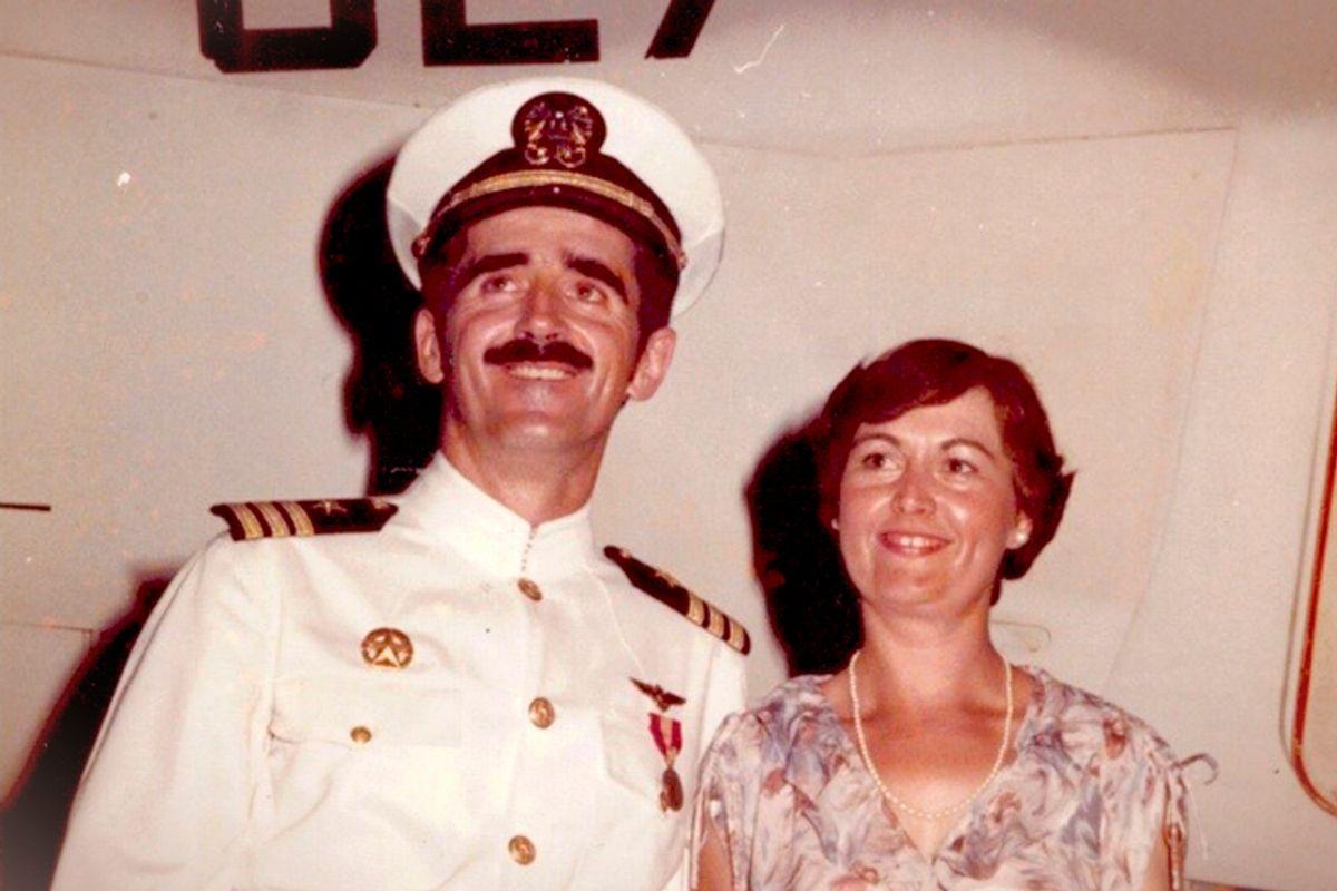 Cmdr. Peter Rodrick and Barbara Rodrick, July 4, 1979. VAQ-135 Change of Command Ceremony      (Courtesy of Stephen Rodrick)