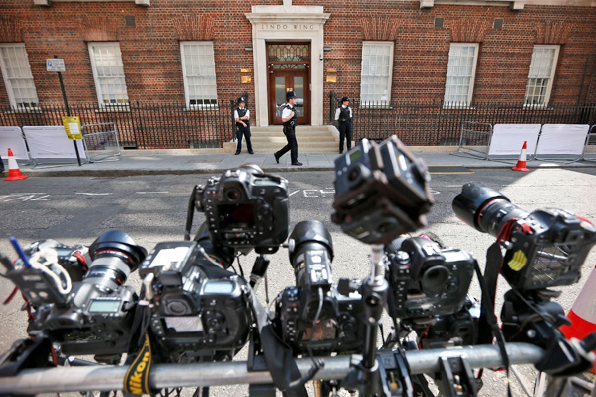 Remote-controlled cameras are set up across St. Mary's Hospital exclusive Lindo Wing in London, Monday, July 22, 2013.         (AP/Lefteris Pitarakis)