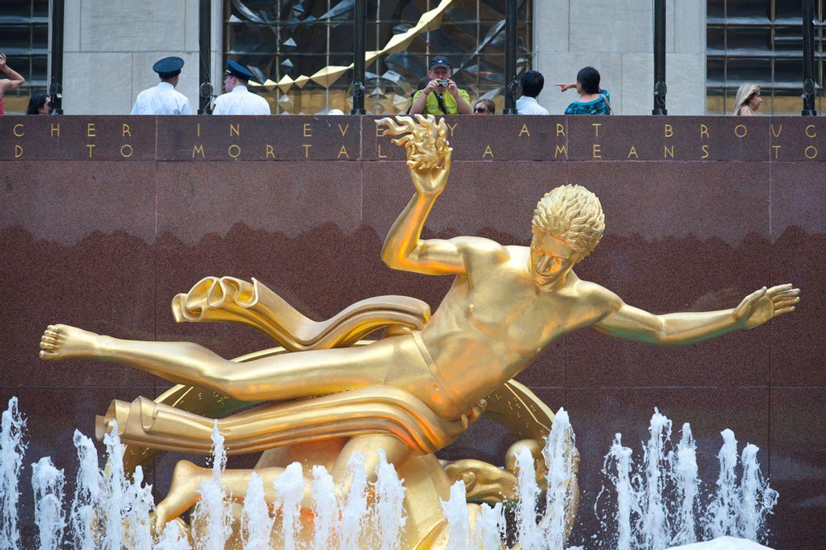 Prometheus statue at Rockefeller Center on 5th Avenue in New York City.   (<a href='http://www.shutterstock.com/gallery-438058p1.html'>pio3</a> via <a href='http://www.shutterstock.com/'>Shutterstock</a>)