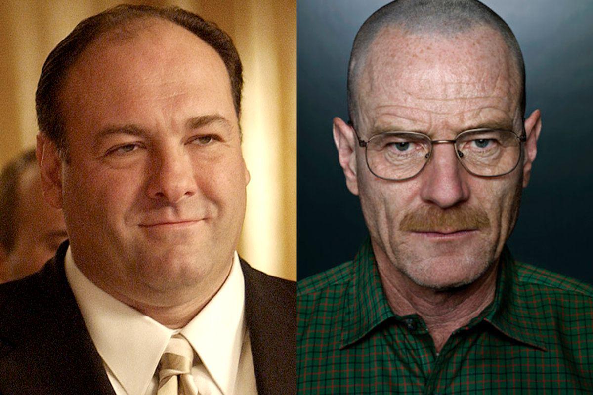 "James Gandolfini as Tony Soprano from ""The Sopranos"", Bryan Cranston as Walter White from ""Breaking Bad.""   (HBO/AMC)"