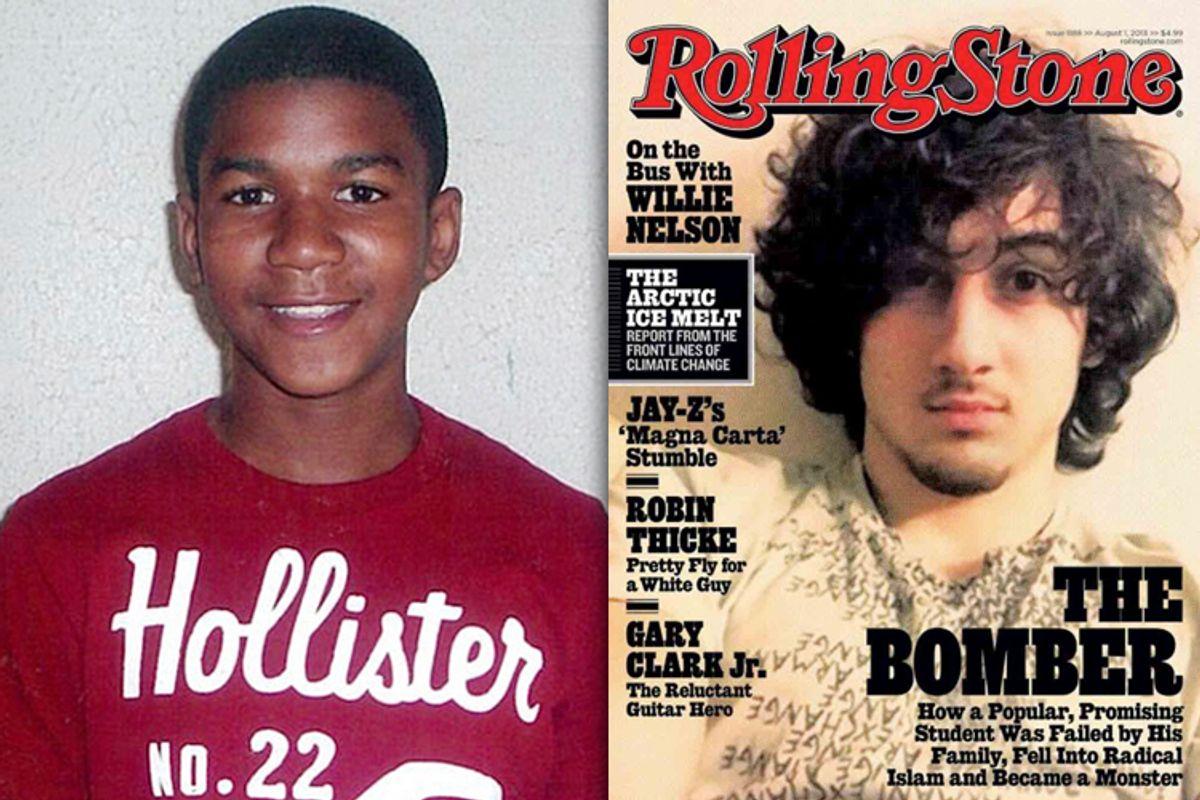 Trayvon Martin, Dzhokhar Tsarnaev     (AP/Martin Family/Rolling Stone)