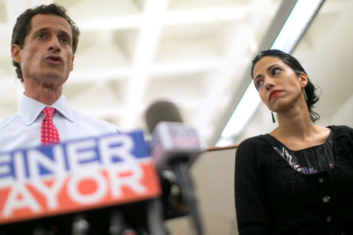 Anthony Weiner and his wife Huma Abedin at a news conference in New York, July 23, 2013.      (Reuters/Eric Thayer)