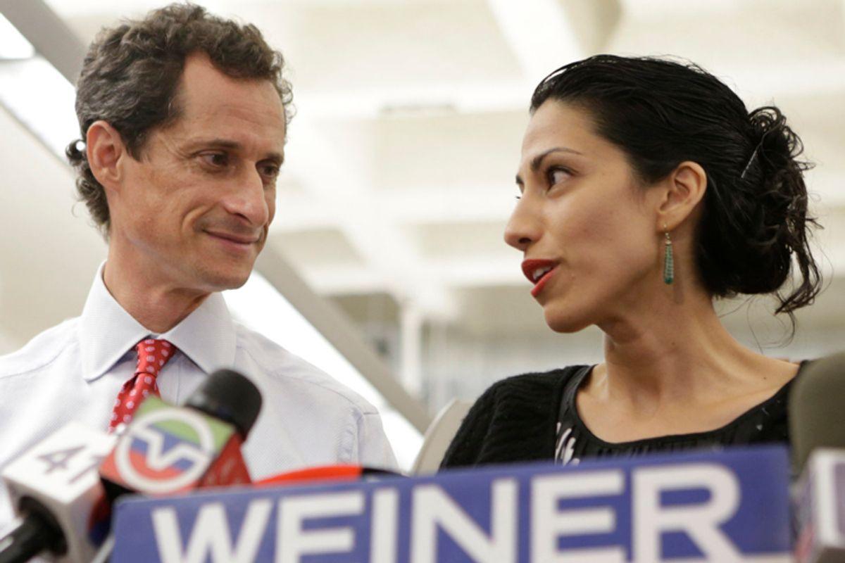 Anthony Weiner, Huma Abedin     (AP/Kathy Willens)