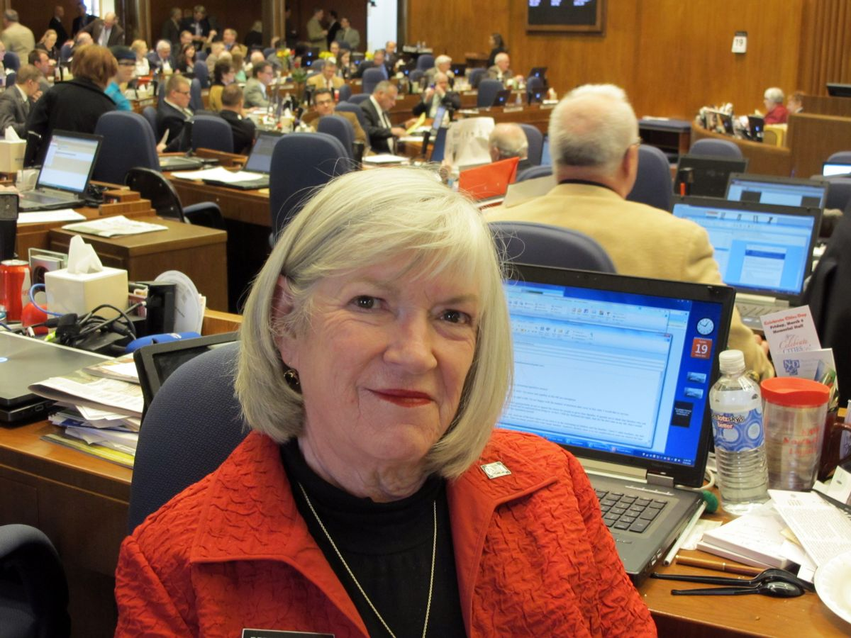 Rep. Kathy Hawken, R-Fargo, poses at the state Capitol in Bismarck, N.D., Tuesday, March 19, 2013.  (AP Photo/James MacPherson)
