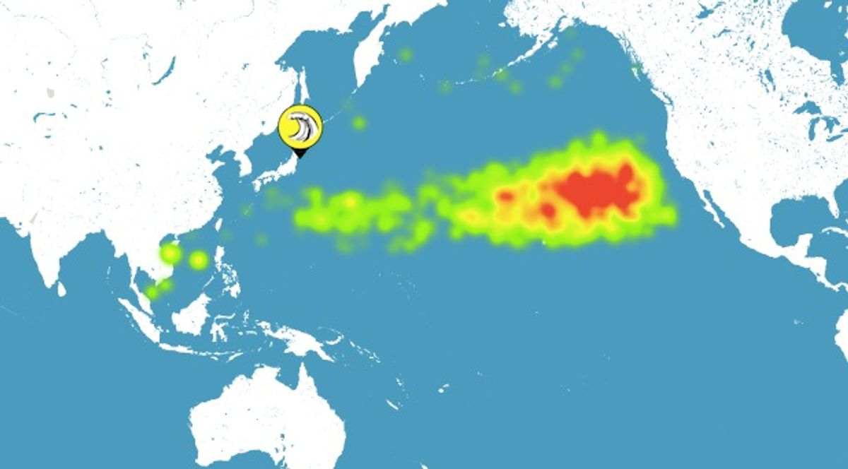 Simulation showing the ten-year trajectory of the radiation released after the Fukushima disaster      (Screenshot, Adrift.org.au)