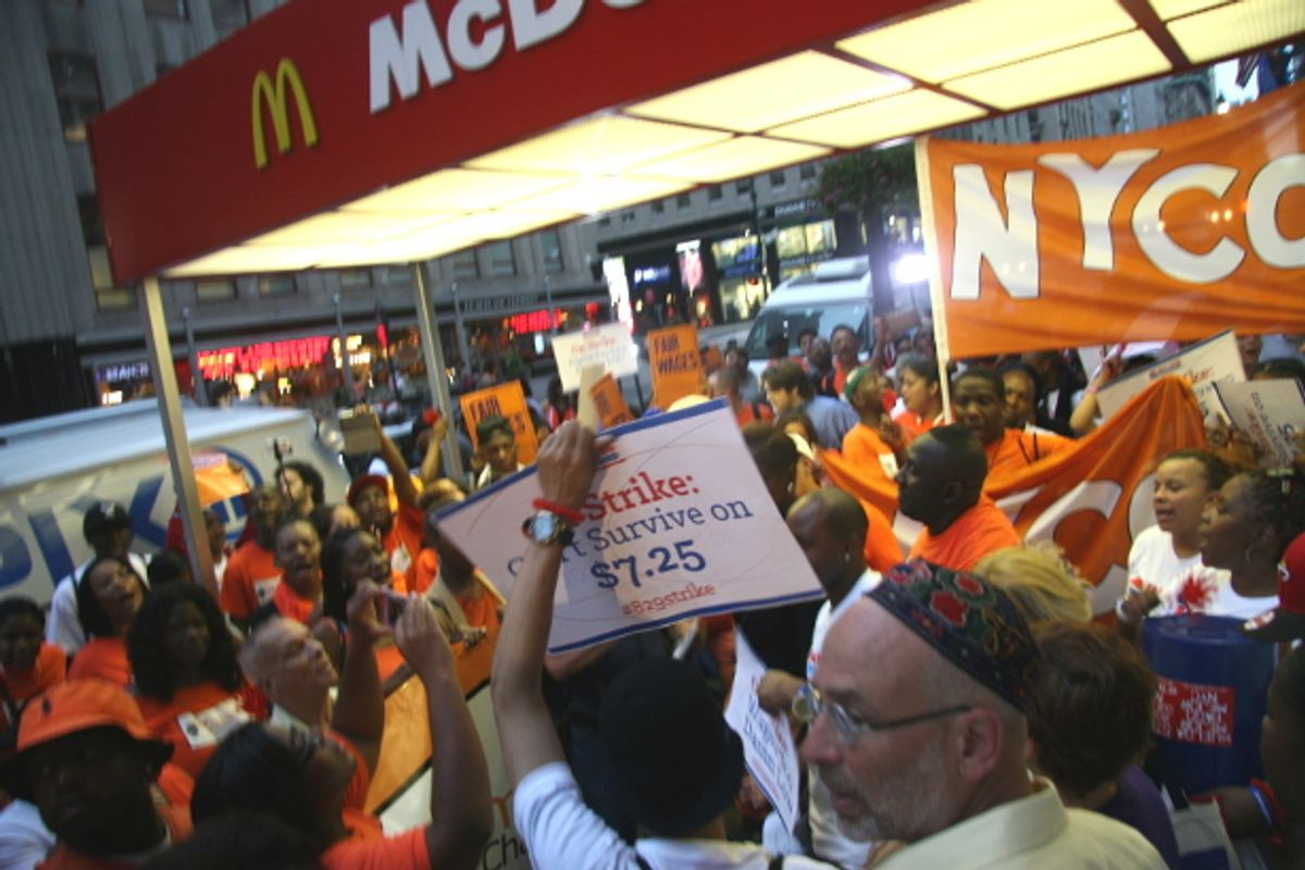 Fast-food workers and their supporters rallied outside of McDonald's in the early hours of the morning Thursday in New York City, marking the start of a nationwide day of strikes.  ((WNV/Peter Rugh))