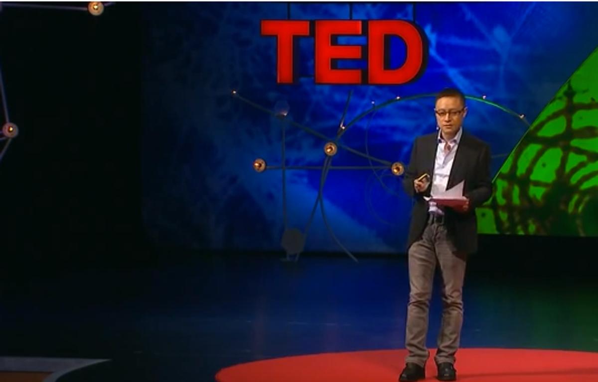 Eric X. Li delivers a TED Talk in Edinburgh in June 2013 (Youtube screenshot)