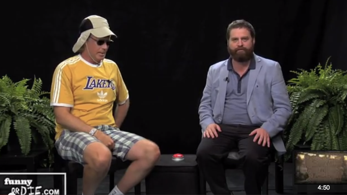 """Funny or Die co-founder Will Ferrell and Zach Galifinakis on Funny Or Die's """"Between Two Ferns"""" (Screenshot, YouTube)"""